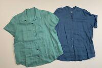 Women's J. JILL Size Large Short Sleeve Linen Shirts Top Blouse Blue