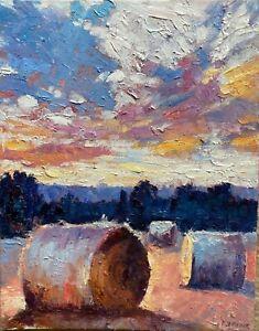 Harvest Sunset Impressionism Landscape OIL PAINTING IDKOWIAK Impasto Texture