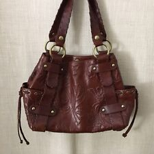Kooba Sienna Whiskey Embossed Perforated Leather Whipstitch Bag Grommet Exc!