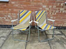 2 vintage Folding Garden Deck Chair Camping 60s 70s 80s VW Camper yellow striped