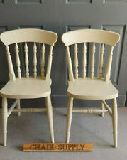 Pair of New Painted Spindle Back Farmhouse Kitchen Dining Chairs in Cream