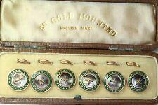 ANTIQUE SET OF 6 9CT GOLD MOTHER OF PEARL & ENAMEL VEST BUTTONS IN ORIGINAL CASE
