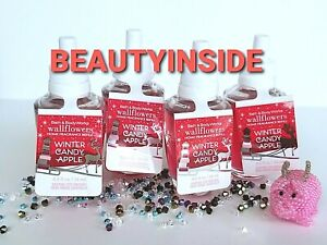(4) Bath and Body Works WINTER CANDY APPLE Wallflowers Home Fragrance Refill NEW