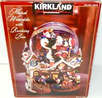 KIRKLAND Christmas Musical Water Globe Revolving Base Santa Workshop Elves