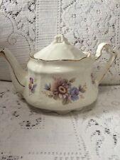 Teapot White Gold Pink/Blue Flowers Unique Shape Very Old Aurthur Wood AS IS