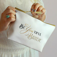 Bride Makeup Bag for Wedding Day Bridal Gift Cosmetic Emergency Survival Kit