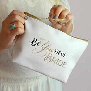 Bride Makeup Bag for Wedding Day Bridal Gift Cosmetic Emergency Survival Kit