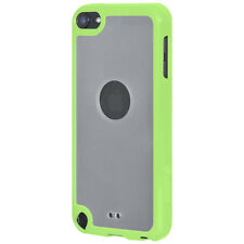 For iPod Touch 5/6 Gen SlimGrip Hybrid TPU Case Clear Back Cover - Cloudy/ Green