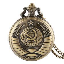 Antique Soviet Union Communist Badge Sickle Hammer Men Women Quartz Pocket Watch