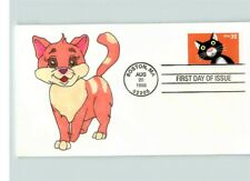 Hand Painted Cat on Bright Eyes 1999 First Day of Issue, # 1 of 1 made!