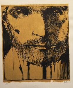 A rare two tone Leonard Baskin, Self Portrait, lithograph, 1973, hand signed
