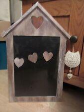 Shabby Chic Rustic Wood Limewash House Shaped Magnetic Memo Blackboard 40cm