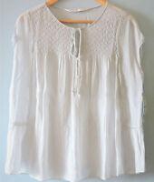 Zara Women Sheer Shirred Smock Top Crochet Blouse Tie Neck Shirt Pale Blue UK 10