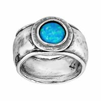 Silpada 'Whirlpool' Created Blue Opal Ring in Sterling Silver