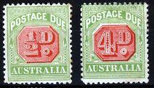 AUSTRALIA 1909-10  POSTAGE DUES P12x12½ Wmk Crown over A (W11) SG D63 & D67 MINT
