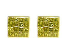 10K Yellow Gold Invisible Princess Real Canary Diamond 6mm Stud earrings .50ct
