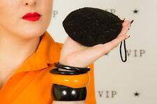 Vintage Noir Style Art Déco Perles Sac de poignet Perles Sac à main