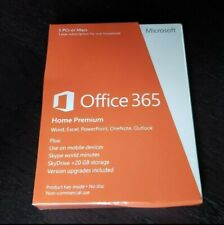 New Sealed Microsoft Office 365 Home Premium 1 Year Subscription For 5 PC & MAC