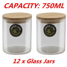 750ML Food Storage Jar Glass Jars Canister Container with Wooden Lid Tube Tubs