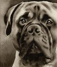 Bullmastiff Art Print Sepia Watercolor Painting by Artist Djr