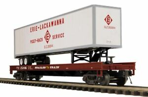 discontinued 2010 MTH Erie Lackawanna Flat Car w/ 48' Trailer new in the box