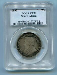 PCGS Graded Vf 30 1892 2 1/2 Shillings Kruger ZAR 1/2 Crown Coin South Africa