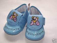 New infant/Baby Bear soft crib shoes, blue, 6-12months