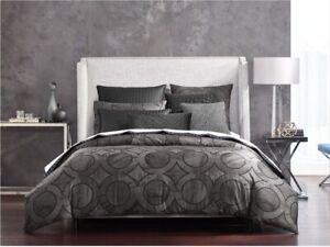 Hotel Collection Marble Geo Duvet Cover, Black, Pima Cotton F/Q