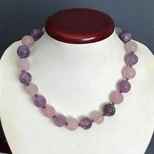 Vintage Art Deco Chinese Carved Amethyst Rose Quartz Hand knotted Necklace