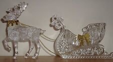 SLEIGH w/REINDEER acrylic Christmas Decoration Figure w/Box