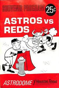 Houston Astros VS Reds 1966 Program Baseball Players Advertisements CPG9