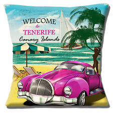 "'WELCOME TO TENERIFE' CANARY ISLANDS CLASSIC CAR BEACH 16"" Pillow Cushion Cover"