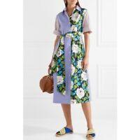 DVF Diane Von Furstenberg Patchwork-effect Belted Cotton Midi Dress size XS
