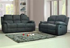 New Modern Harvey 3+2 Seater Luxury Fabric Recliner Sofa Dark Grey Charcoal B...