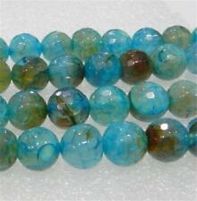 """AAA 8mm Faceted Blue Dragon Veins Agate Round Loose Beads 15"""" Strand"""