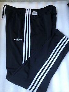 NEW Adidas Men's Size L. Large 3-Stripes Tapered Pants Black/White Joggers