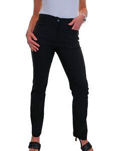 Womens Girls School Work Stretch Straight Trousers with Pockets Black NEW 6-18