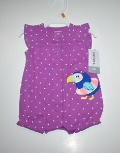 NEWBORN BABY GIRLS CARTERS POLKA DOTS TOUCAN SNAP UP ROMPER TODDLER NWT