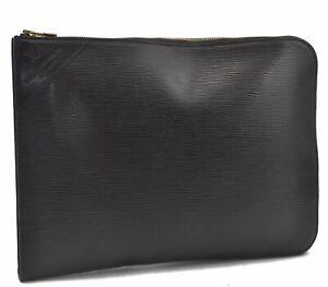 Authentic Louis Vuitton Epi GOLF CUP Poche Documents Brief Case Black LV B4247