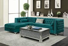CONTEMPORARY GREEN VELVET STORAGE SOFA SECTIONAL LIVING ROOM FURNITURE SET SALE