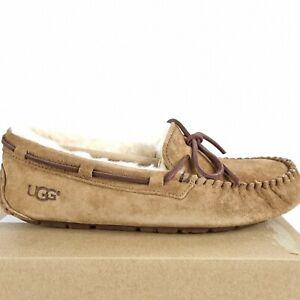 UGG Boot Dakota Men Slippers Size 7 Chestnut Suede Fur Moccasin Style Slip On