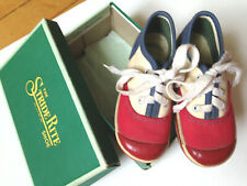 Vintage Toddler Kids Child Lace Canvas Sneakers Red White Blue Stride Rite box