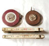 Vintage Lufkin 066F Folding Wooden Ruler / 50ft Steel Tape Measure/Dietzgen Lot