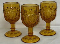 """3 LE Smith MOON & STARS AMBER 4 1/2"""" WINE GOBLETS #4272"""
