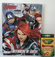 Marvel Avengers Jumbo Coloring & Activity Book Mazes Puzzles + Crayons Boys Art