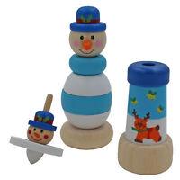 Navidad Retro Madera Set Juguete Apilables Torre, Peonza, Caleidoscopio - Azul