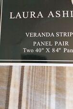 New LAURA ASHLEY Veranda Stripe Sheer Window Panels NEUTRAL  Two 40in by 84in