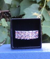 Pink Crystal Stainless Steel European Style  Ring Size 7