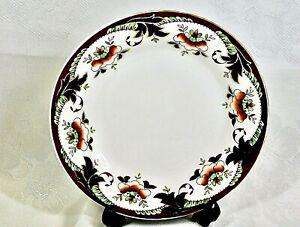 BEAUTIFUL ANTIQUE BONE CHINA IMARI STYLE TEA PLATES  SET OF 4 TUSCAN C 1920'S