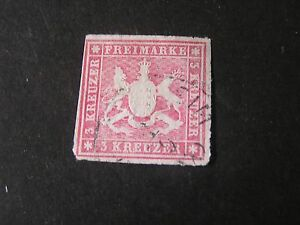 GERMANY, WURTTEMBERG STATE, SCOTT # 42.3kr. VALUE ROSE 1865-68 COAT OF ARMS USED